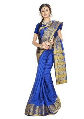 Traditional Blue Banarasi Silk Saree - 71655