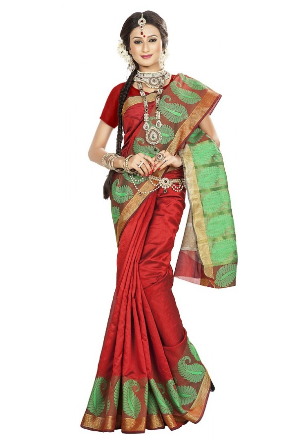Traditional Red Banarasi Silk Saree - 71661