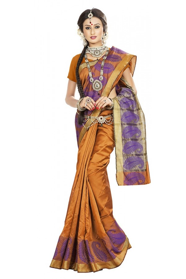 Traditional Brown Banarasi Silk Saree - 71663