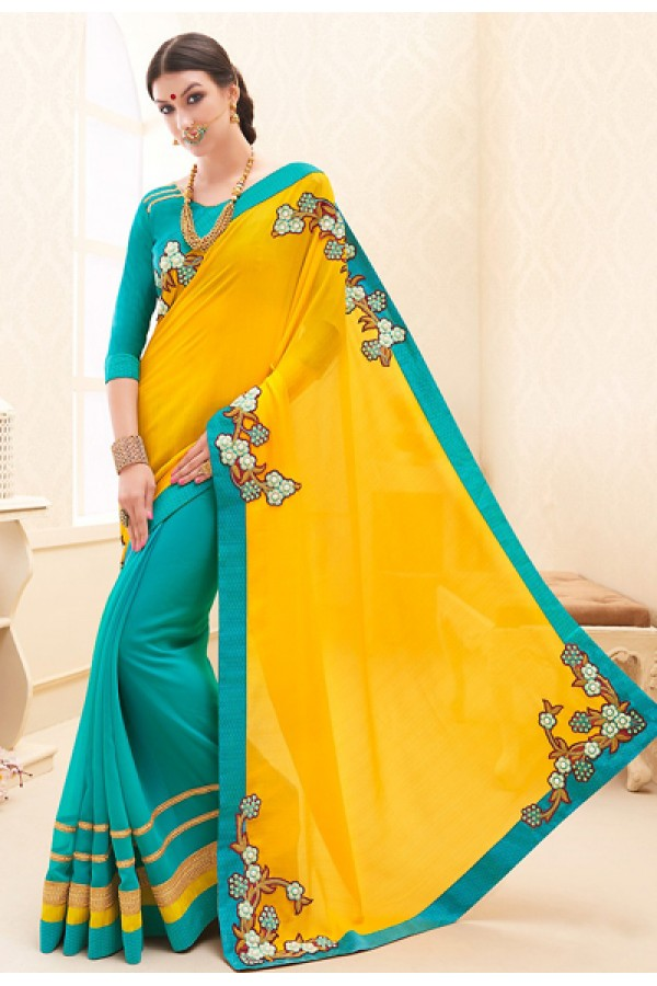 Traditional  Yellow & Turquoise Georgette Saree - 71692