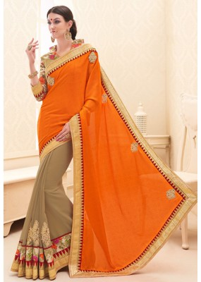 Traditional  Orange & Brown Georgette Saree - 71694