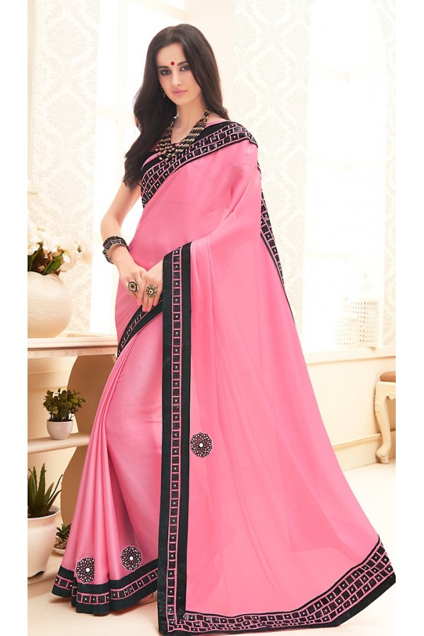 Traditional Light Pink Chiffon Saree - 71696