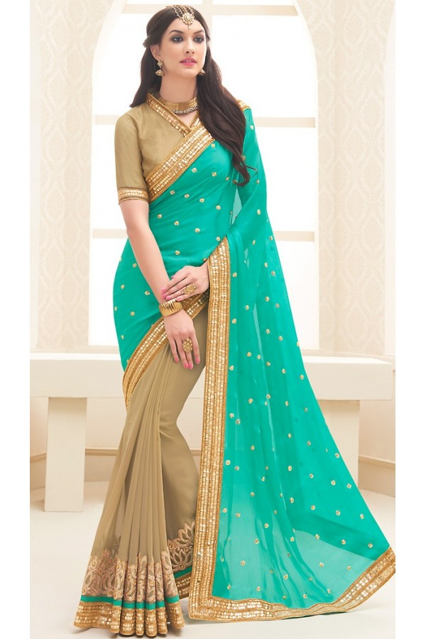 Traditional Turquoise & Brown Georgette Saree - 71697