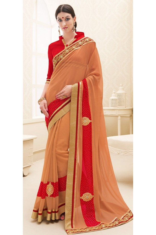Traditional Orange & Red Georgette Saree - 71700
