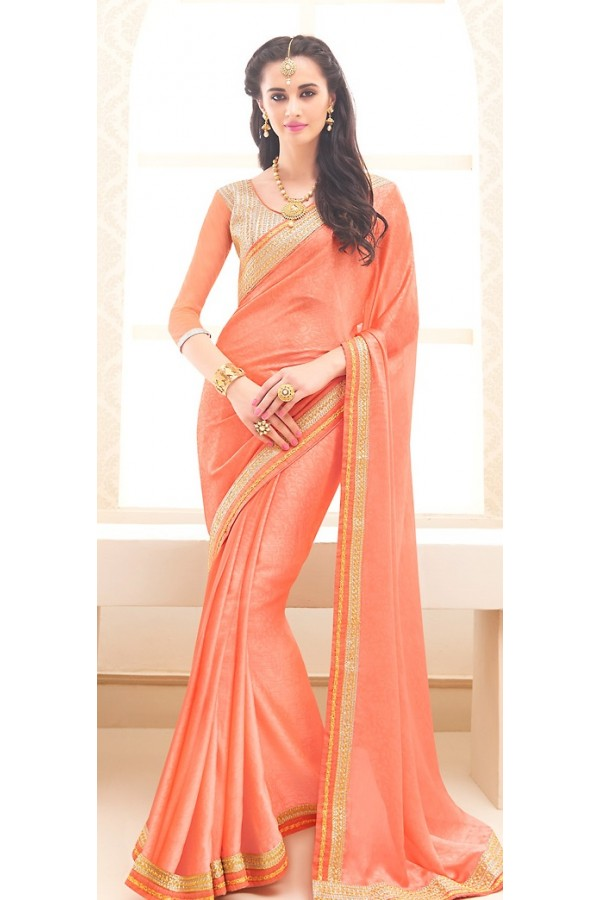 Traditional Peach Jaquard Saree - 71702