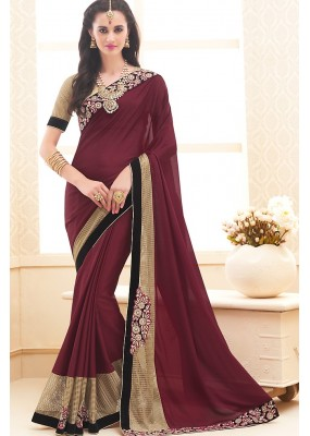 Traditional Maroon & Beige Chinon Saree - 71703