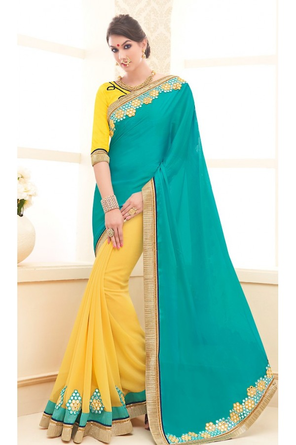 Traditional Yellow & Turquoise Georgette Saree - 71704