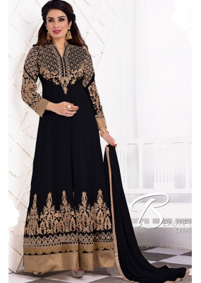 Party Wear Black Georgette Anarkali Suit - 71939