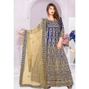 Traditional Blue & Beige Silk Anarkali Suit - 72028