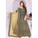 Designer Black & Beige Silk Anarkali Suit - 72029