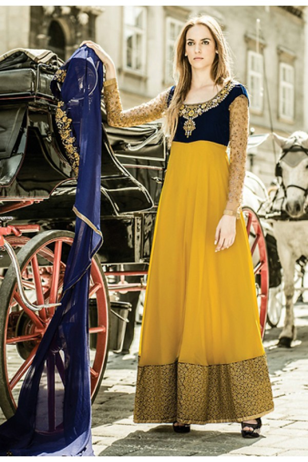 Designer Yellow & Blue Georgette Anarkali Suit - 72088