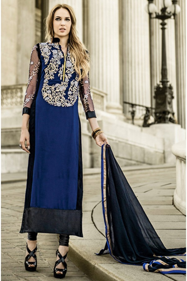 Designer Blue & Black Georgette Salwar Suit - 72090