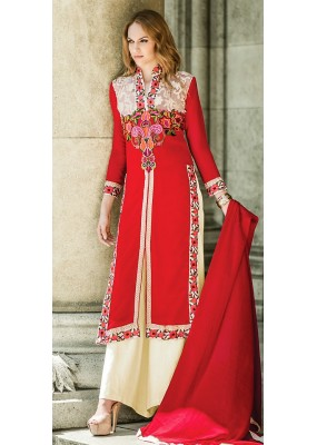 Party Wear Red & White Georgette Palazzo Suit - 72091