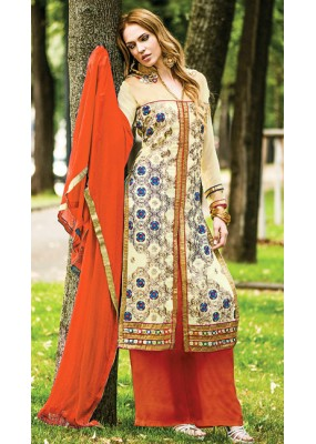 Party Wear Cream & Orange Georgette Palazzo Suit - 72098