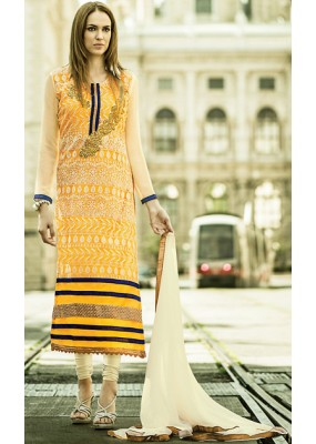 Party Wear Yellow & Off White Georgette Salwar Suit - 72099