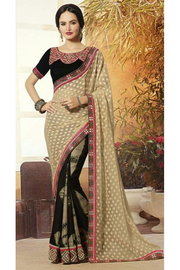 Casual Wear Tan Brown & Black Georgette Saree  - 72081