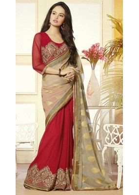 Party Wear Tan Brown & Red Georgette Saree  - 72083