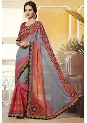 Party Wear Grey & Pink Georgette Saree  - 72085