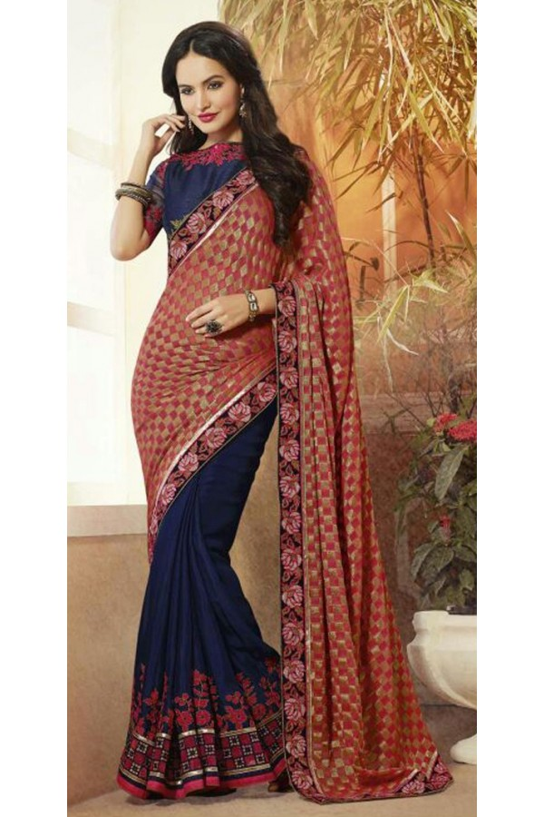 Party Wear Navy Blue Georgette Saree  - 72087