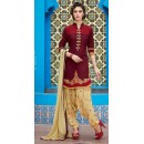 Designer Maroon & Brown Patiala Suit  - 72124