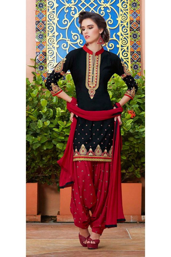 Party Wear Black & Red Cotton Patiala Suit  - 72125