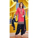 Party Wear Pink & Navy Blue Cotton Patiala Suit  - 72126