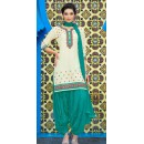 Party Wear Cream & Blue Cotton Patiala Suit  - 72128