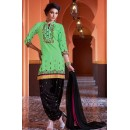 Party Wear Green & Black Cotton Patiala Suit  - 72132