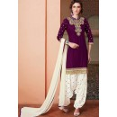 Designer Purple & Off White Cotton Patiala Suit  - 72134