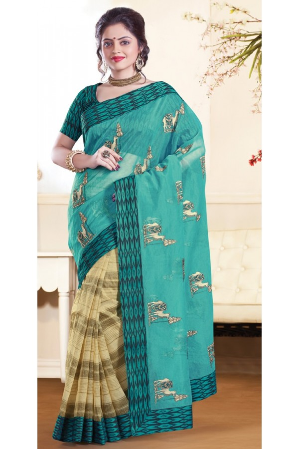 Traditional Green & Beige Super Net Saree - 72154