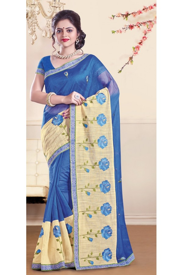 Party Wear Blue Super Net Saree - 72156
