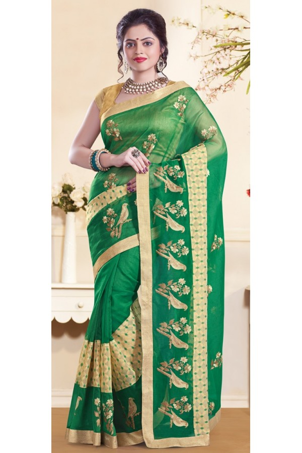 Party Wear Green & Gold Super Net Saree - 72159