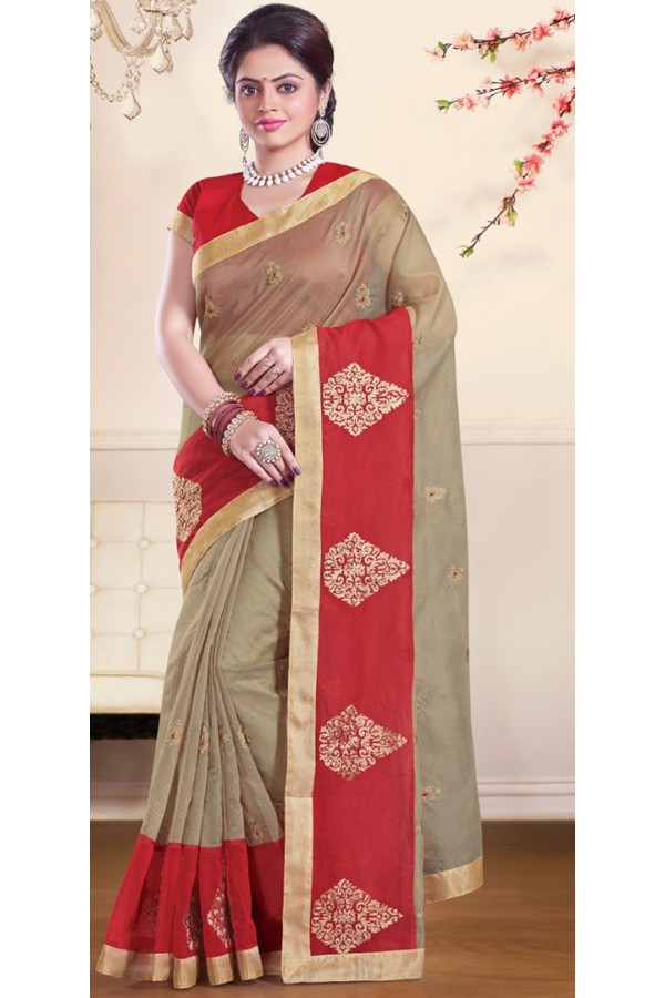 Traditional Tan Brown & Red Super Net Saree - 72161