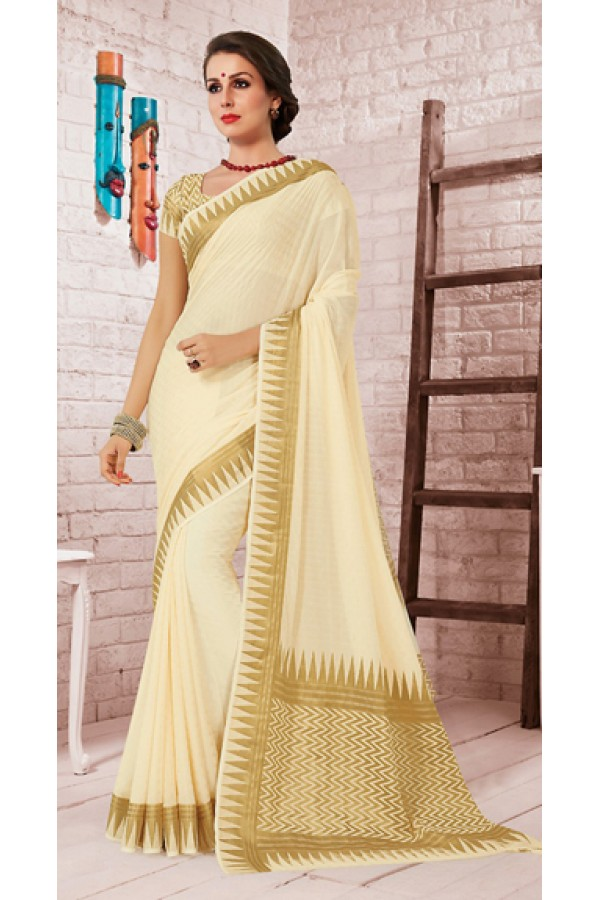 Party Wear Beige Crepe Silk Saree - 72162