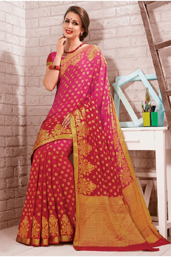 Party Wear Pink Crepe Silk Saree - 72164