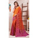 Traditional Orange & Fuchsia Crepe Silk Saree - 72171