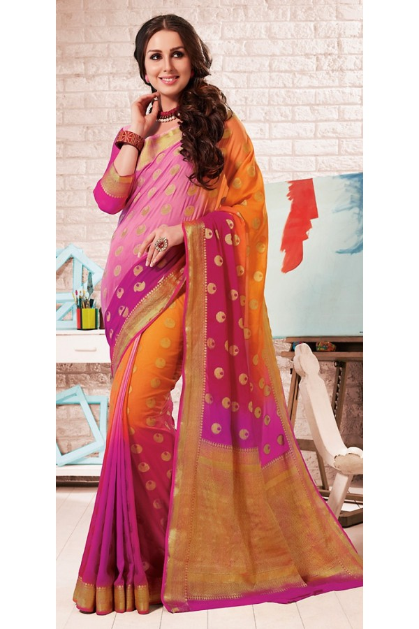 Party Wear Multicolour Crepe Silk Saree - 72173
