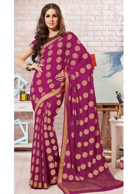 Party Wear Violet Crepe Silk Saree - 72176