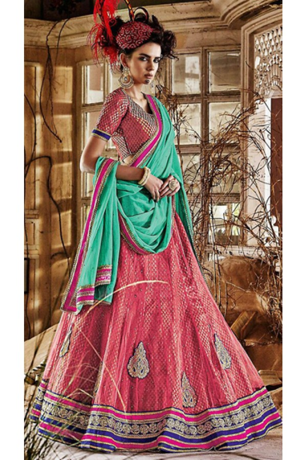 Traditional Pink & Green Lehenga Choli - 72241