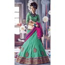 Wedding Wear Green & Pink Lehenga Choli - 72247