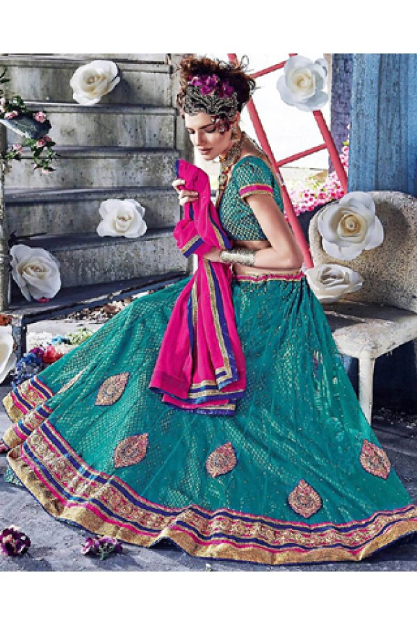 Wedding Wear Teal Blue & Pink Lehenga Choli - 72252