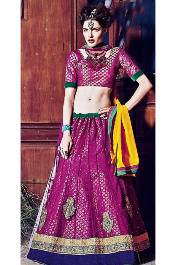 Traditional Violet & Yellow Lehenga Choli - 72254