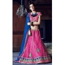 Wedding Wear Pink & Blue Lehenga Choli - 72255