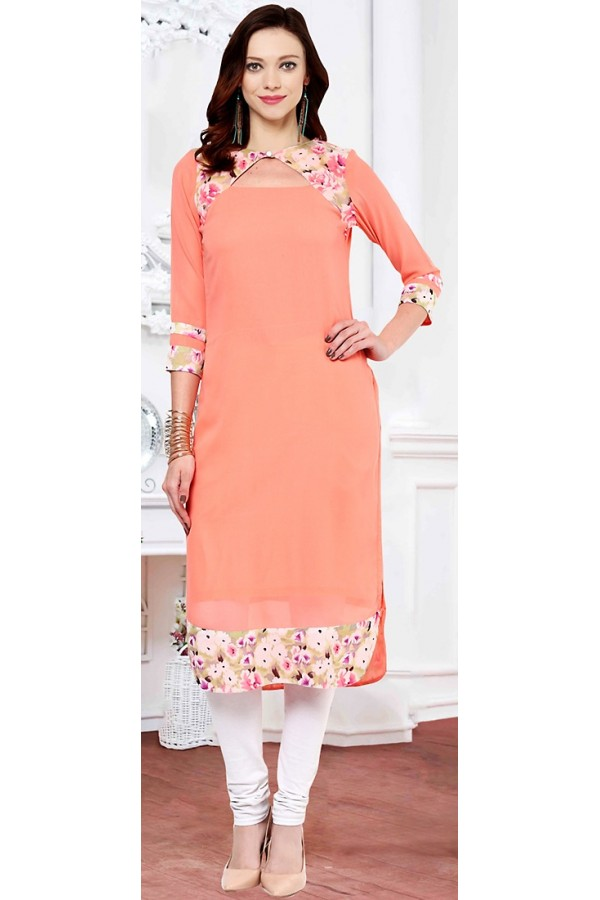 Party Wear Readymade Pink Georgette Kurti - 72220