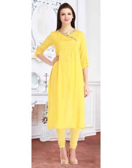 Casual Wear Readymade Yellow Cotton Kurti - 72222