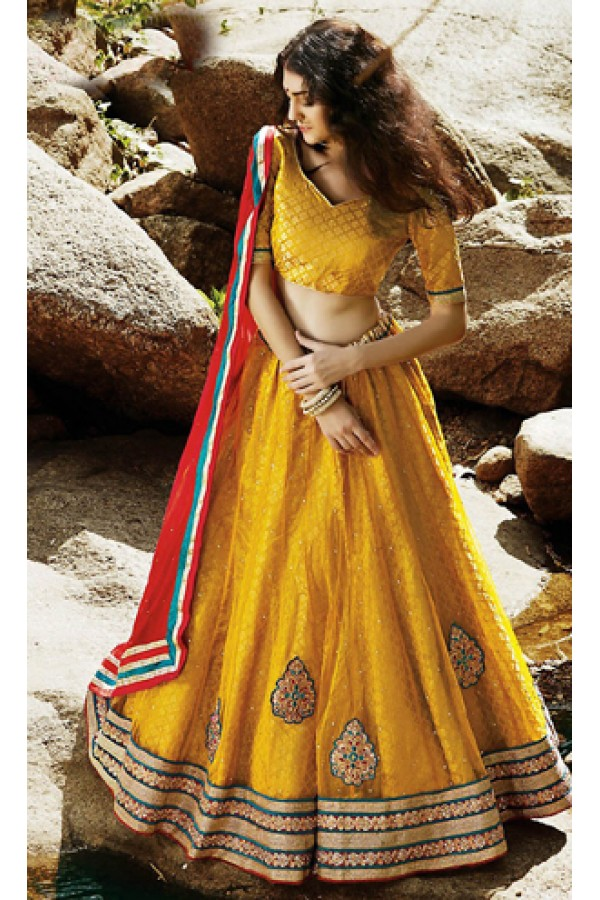 Traditional Yellow & Red Lehenga Choli - 72235