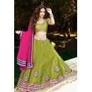Traditional Green & Pink Lehenga Choli - 72236