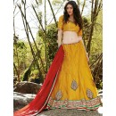 Traditional Yellow & Red Lehenga Choli - 72237