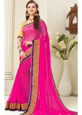 Traditional Pink Georgette Saree - 72259
