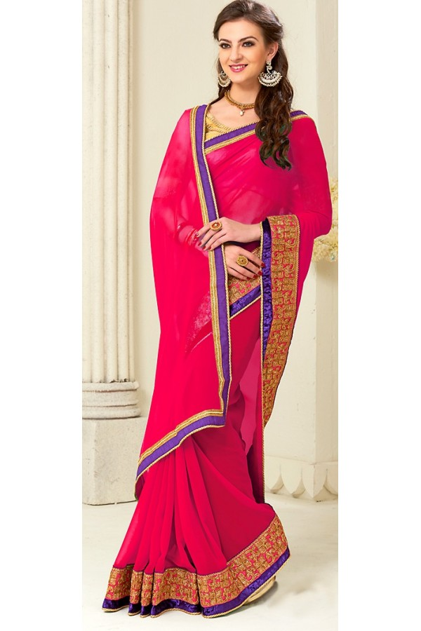 Party Wear Pink Georgette Saree - 72260